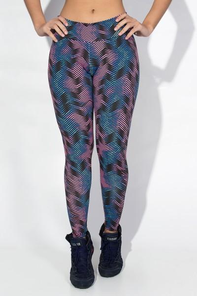 Calça Legging Estampada Cós Baixo (Setas Coloridas com Preto) | Ref: KS-F343-002
