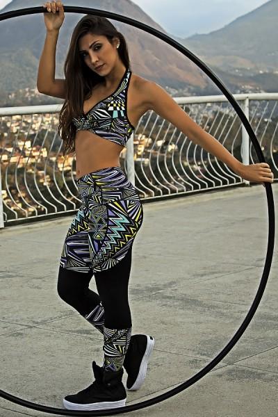 Calça Valentina Estampada com Detalhe Liso | Ref: F603