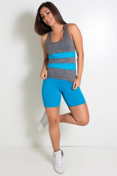 Camiseta Mescla com Detalhe Liso (Azul Celeste) | Ref: F1423
