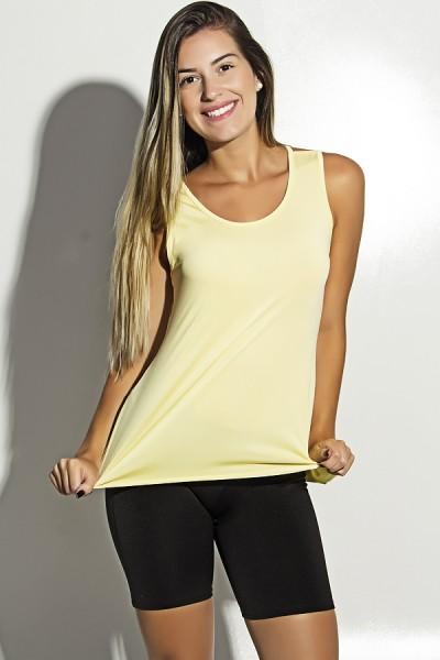 Camiseta de Microlight Nadador com Alça Dupla (Amarelo) | Ref: F1189