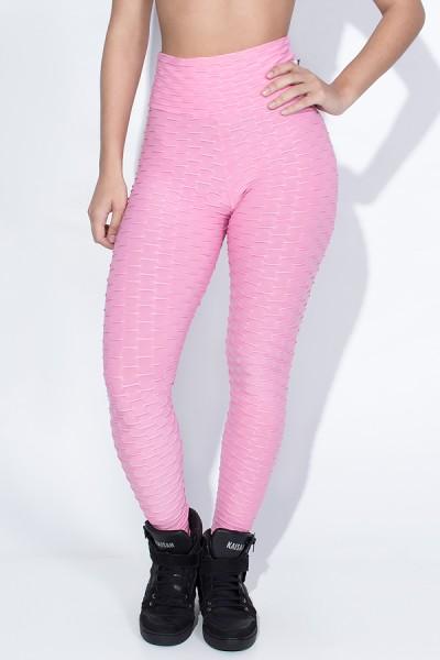 Calça Legging Tecido Bolha (Rosa) | Ref: KS-F103-004