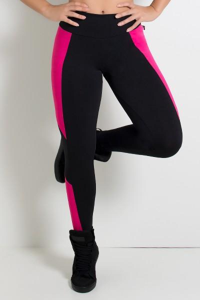 Calça Jéssica Duas Cores (Preto / Rosa Pink) | Ref: KS-F567-001