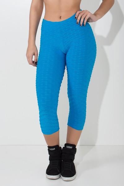 Calça Corsário Tecido Bolha (Azul Celeste) | Ref: KS-F105-004