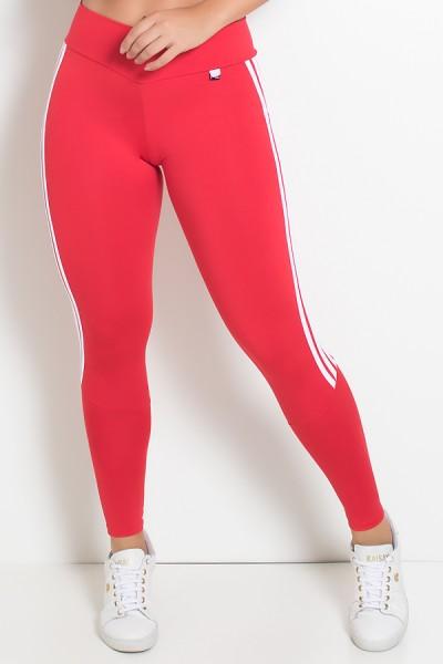 Legging com Cós em V e Listras (Vermelho / Branco) | Ref: KS-F713-001