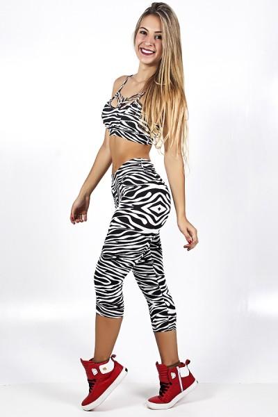 Conjunto Top + Corsário Estampada Zebra 2 | Ref: F1046