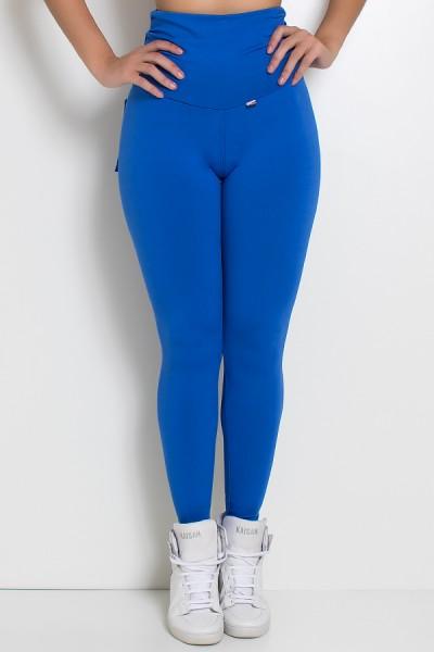 Calça com Bolso e Cós Franzido (Azul Royal) | Ref: KS-F629-004