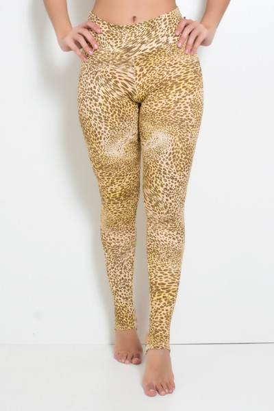 Calça Legging Estampada com Pezinho (Oncinha Marrom Bege e Amarelo) | Ref: KS-F192-001