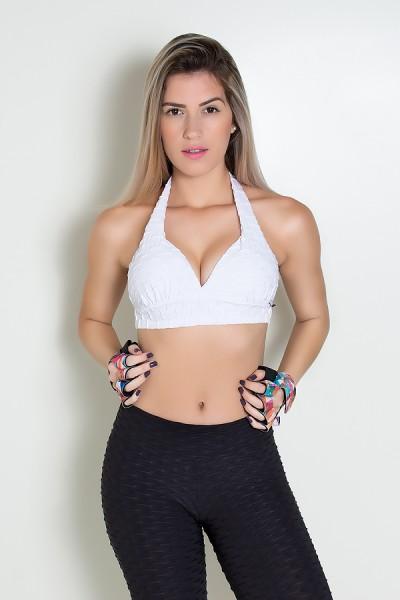 Top Tecido Bolha com Bojo (Branco) | Ref: KS-F271-008