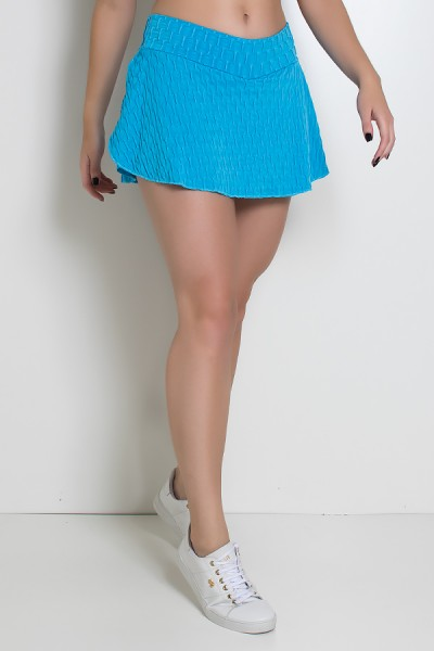 Short Saia Isabelle Tecido Bolha (Azul Celeste) | Ref: KS-F265-005