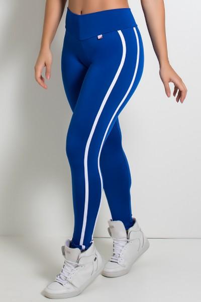 Calça Fuseau Cós Baixo com Duas Listras (Azul Royal) | Ref: KS-F654-004