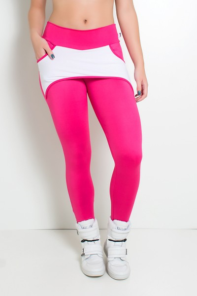 Calça Katherine com Bolso em Detalhe Dry Fit (Rosa Pink / Branco) | Ref: KS-F690-006