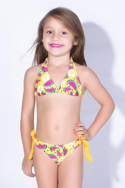Biquini de Amarrar Estampado Infantil (Amarelo com Melancia) | Ref: DVBQ25-001