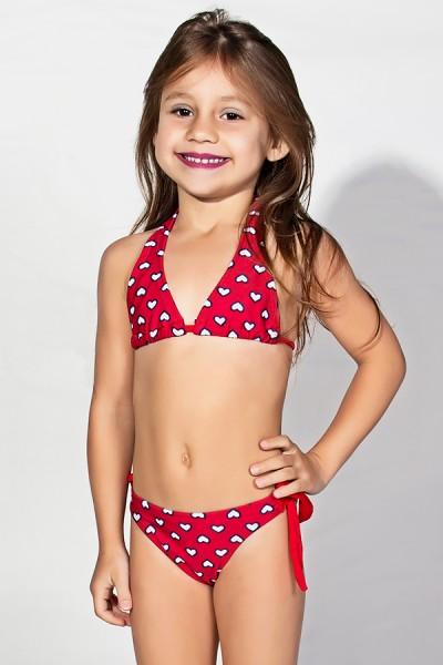 Biquini de Amarrar Estampado Infantil (Vermelho com Corações) | Ref: DVBQ25-003