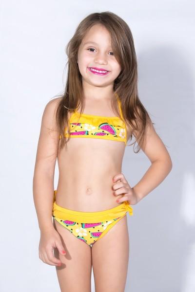 Biquini Estampado com Babado Infantil (Amarelo com Melancia / Amarelo) | Ref: DVBQ26-001