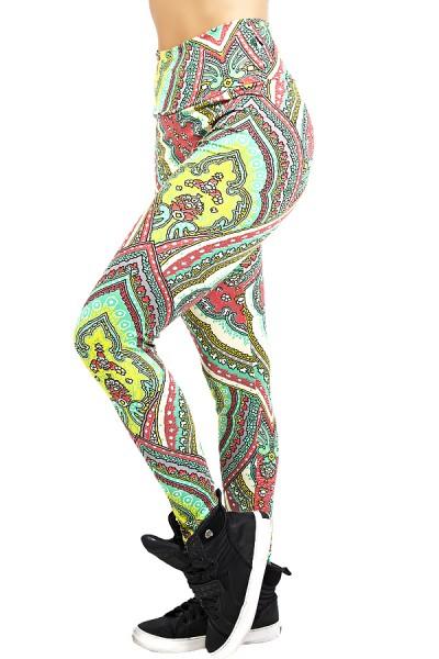 Legging Estampada Indiano Verde Amarelo e Vermelho | Ref: CA513