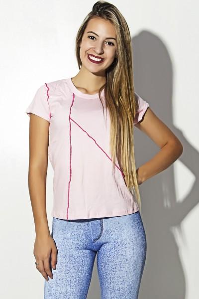 Camiseta de Malha Rosa