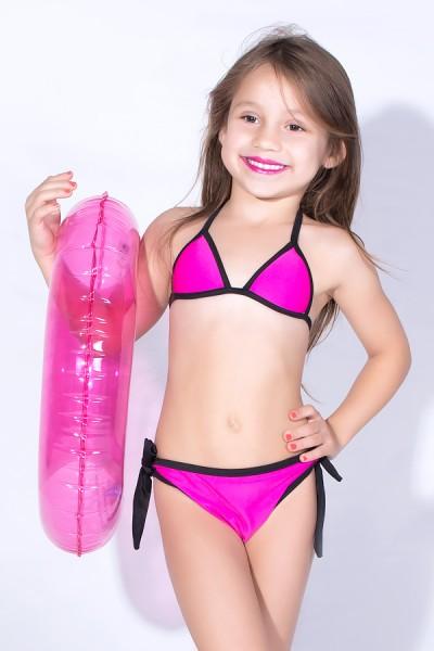 Biquini Infantil Liso de Amarrar com Bojo (Rosa Pink) | Ref: DVBQ30-004