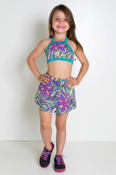 Conjunto Infantil Top + Short Saia (Tribal Colorido com Flor Roxa / Verde Esmeralda)   Ref: KS-F986-001