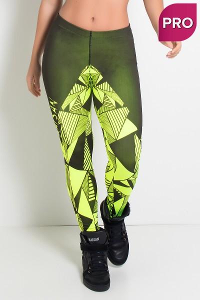 Legging Sublimada PRO (Triângulos Amarelo Neon) | Ref: NTSP15-001