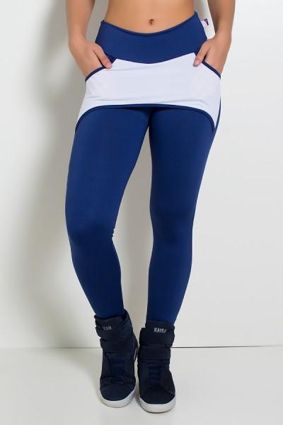 Calça Katherine com Bolso em Detalhe Dry Fit (Azul Marinho / Branco) | Ref: KS-F690-010