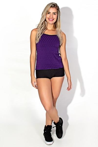 Conjunto Camiseta e Shortinho Tecido Bolha (Roxo) | Ref: KS-F474-003