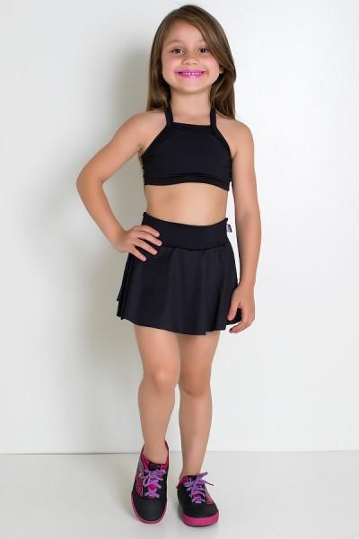 Conjunto Infantil Top + Short Saia Lisos (Preto) | Ref: KS-F1898-001