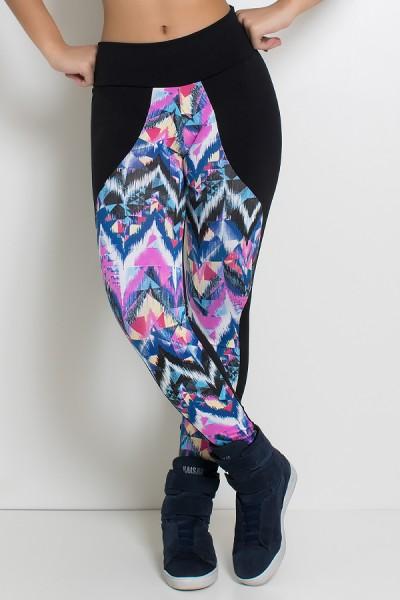 Calça Legging com Detalhe Estampado | Ref: F96