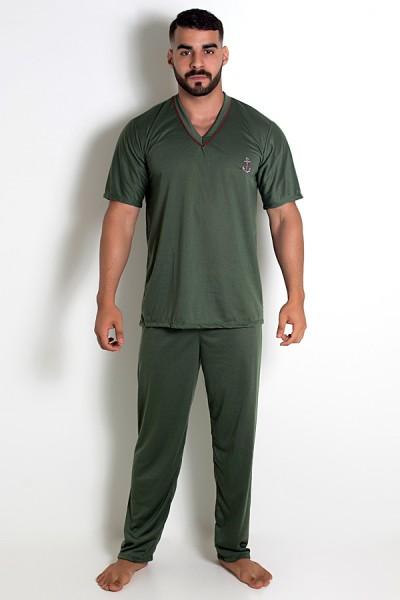 Pijama MAS. Manga Curta 091 (Verde Escuro) | CEZ-PA091-004