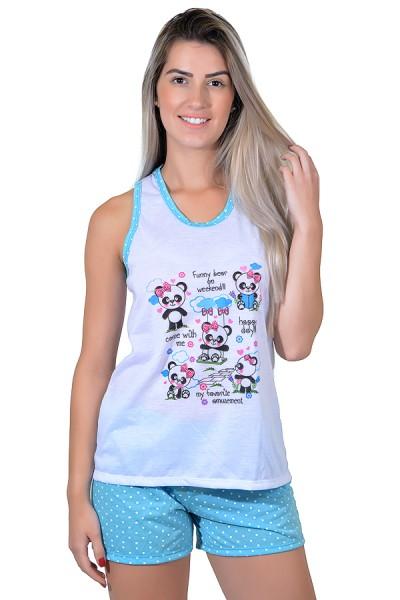 Babydoll Feminino 112 (Azul com pandas)