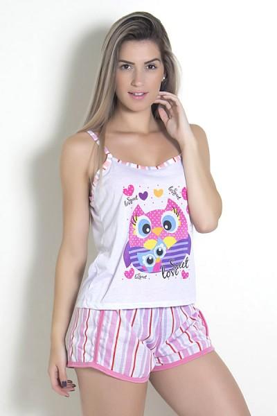 Babydoll Feminino 054 (Rosa com corujas)
