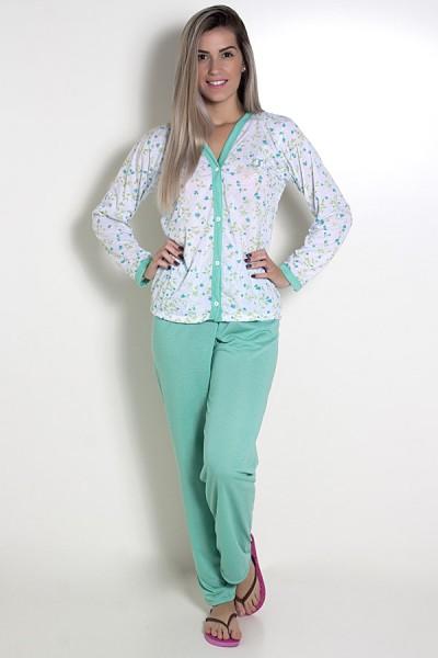 Pijama feminino longo 182 (Verde)