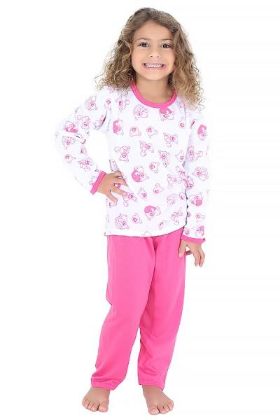 Pijama longo infantil 077 (Pink com ursinho)