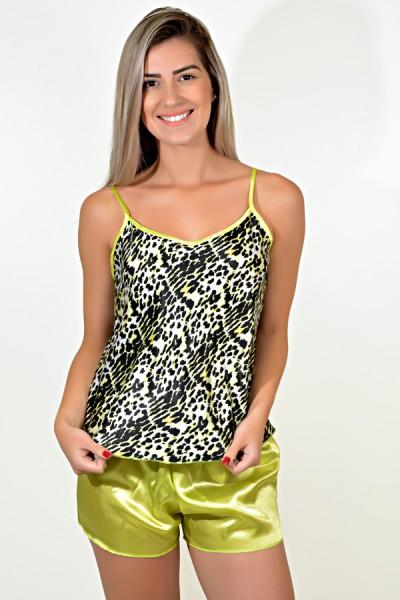 Babydoll Feminino 001 (Verde com onça)