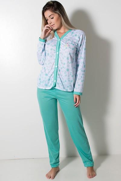 Pijama feminino longo 182 (Verde Piscina) | Ref: CEZ-PA182-009