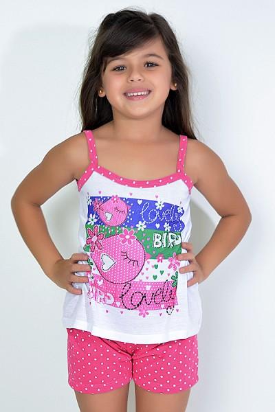 Babydoll Infantil 268 (Pink com poá branco)