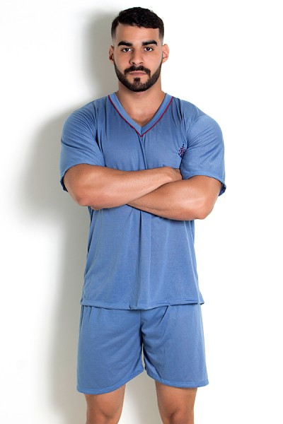Pijama Mas. Curto 070 (Azul Acinzentado)