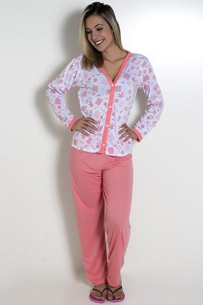 Pijama feminino longo 182 (Salmão)