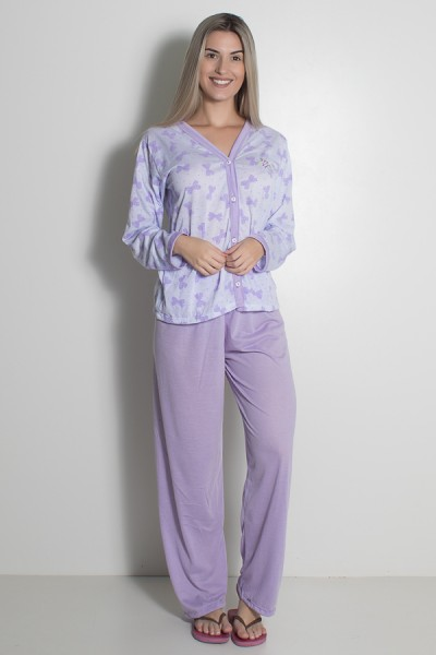Pijama feminino longo 182 (Lilás) | Ref: CEZ-PA182-008