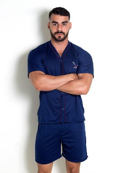 Pijama Mas. de Botão 168 (Azul Marinho)