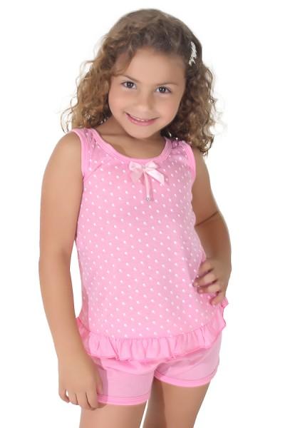 Babydoll infantil 203 (Rosa com poá branco)