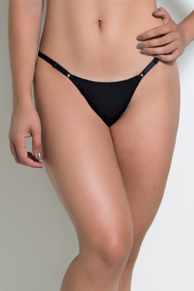 Calcinha Lisa com Regulagem Lateral CL001 (Preto) | Ref: KS-A198-003