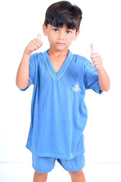 Pijama infantil mas. Curto 037 (Azul)
