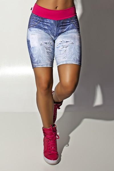 Bermuda Jeans Sublimada com Cós Rosa Pink | Ref.: F1114
