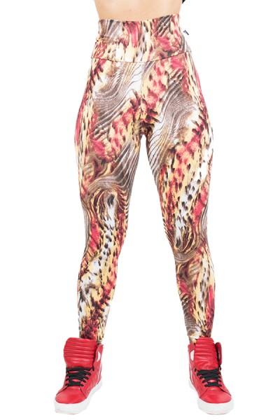 Legging Estampada Tigre Bege e Vermelho | Ref: CA496