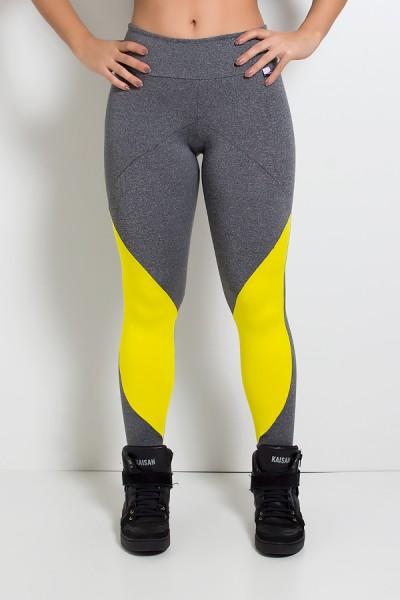Calça Mescla com Recortes e Detalhe Liso (Mescla / Amarelo) | Ref: KS-F1998