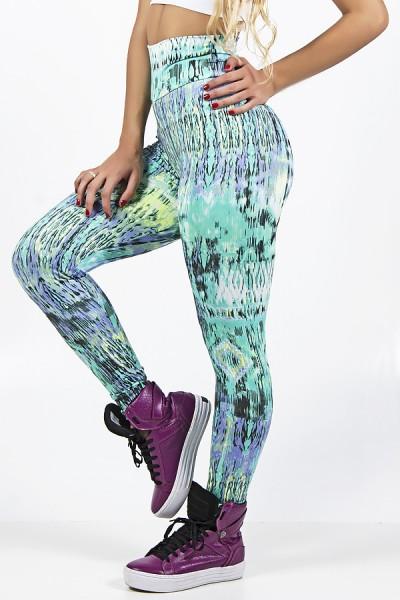 Legging Estampada Losango com Manchado Roxo e Verde | Ref: CA524