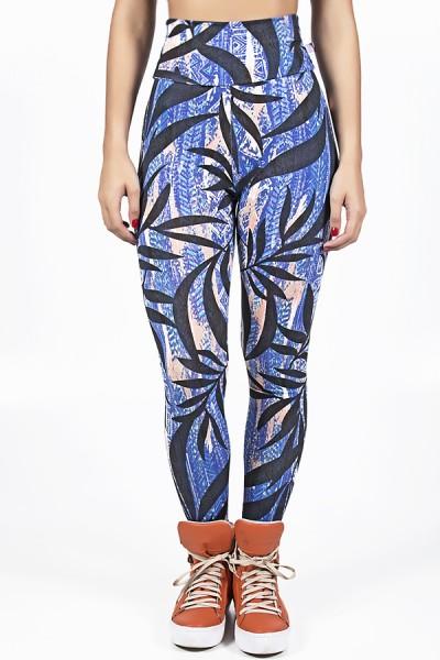 Legging Estampada Mosaico Azul e Laranja com Folha Preta | Ref: CA537