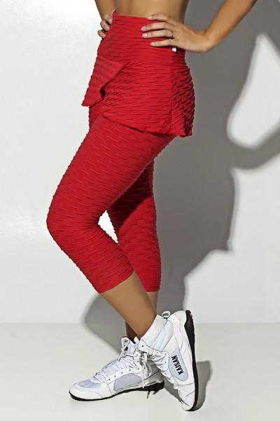 Corsário Priscila Tecido Bolha com Tapa Bumbum (Vermelho) | Ref: F1513