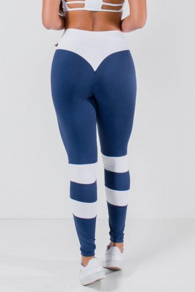 Calça Bumbum na Nuca Duas Cores (Azul Marinho / Branco)   Ref: KS-F2250-001
