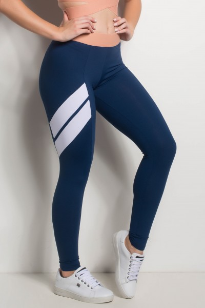Calça Com Detalhe Em Diagonal E Cós De Elastico (Azul Marinho  Branco  Coral Tandy)  Ref CAL421-003002021